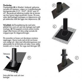 Kaminzubehör für Saunaöfen Auflage mit Regenkragen. Für Dachneigung 37-45 Grad