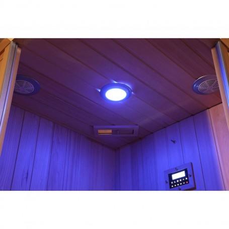 Sauna Infrarot für 3-4 Pers. Sunway Right Infrasauna für 3 PersonenGröße: 1600 x 1120 x 1980 mmHolz: HemlockWarming System