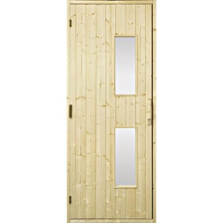 Saunatür aus Holz Saunatür 7x20 Holz, Klarglas Gran Klarglas