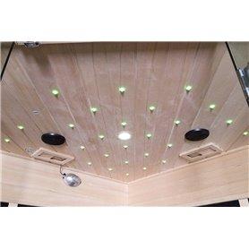Sauna Infrarot für 3-4 Personen Glänzend für 4 Personen Infrasauna für 4 PersonenGröße: 1750 x 1200 x 1900 mmHolz: Weißer Laser