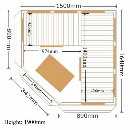Ecksauna Infrarot Apollon Turmaline Corner Hemlock Infrasauna für 4 Personen Größe: 1500 x 1500 x 1900 mmHolz: Hemlock