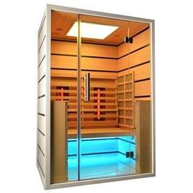 Sauna Infrarot für 2 Personen Wählen Sie 2 Personen Infrarot-Sauna für 2 Personen Größe: 1300 x 1050 x 1900 mmHolz: Weiß He