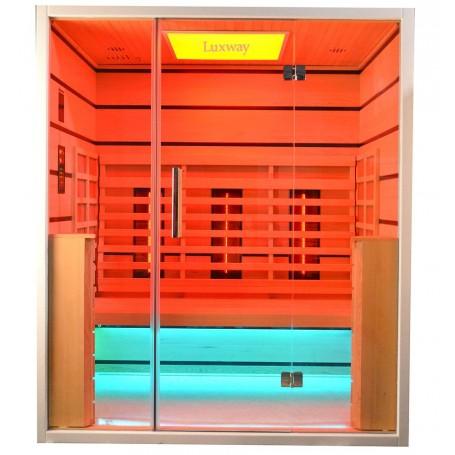 Sauna Infrarot für 3-4 Pers. Wählen Sie 3 Personen Infrasauna für 3 PersonenGröße: 1630 x 1050 x 1900 mmHolz: RanddeckelWärme
