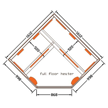 Eck-Infrarotsauna Select Eck-Infrarotsauna für 4 PersonenGröße: 1610 x 1610 x 1900 mmHolz: White Hemlock Heizsystem: M