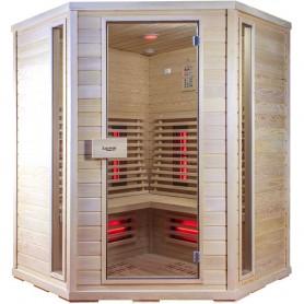 Ecksauna Infrarot Amon GX Infra Sauna für 4 Personen Größe: 1500 x 1500 x 2000 mmHolz: Hemlock Heizsystem: Carbon Wave