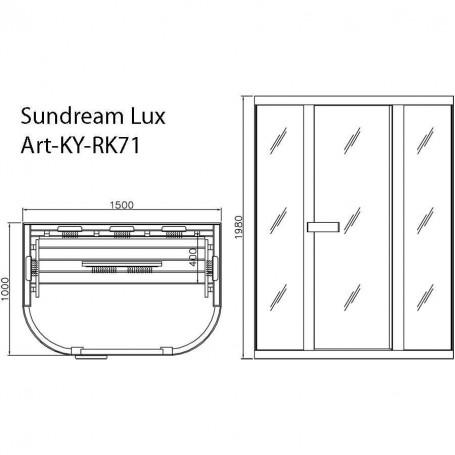 Sauna Infra Sauna mit den Maßen: 1500 x 1000 x 1980 mm