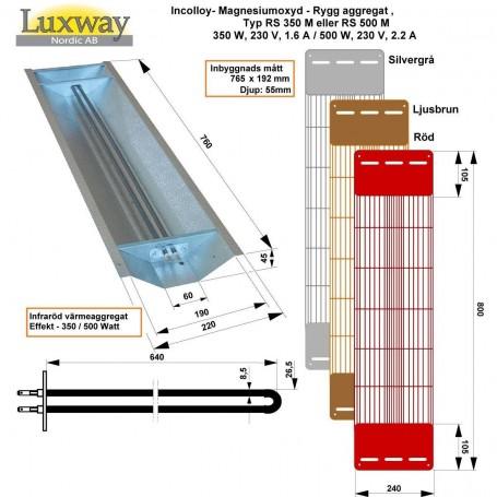 IR-Incolloy Reflektoren IR Incolloy 350W RS Position: Rückseite, Seitenfarbe: Grau, Rot oder Schwarz