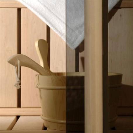 Saunatür Größe 9x21 Saunatür 9x21 Classic mit Graustufenglas und Kiefernrahmen